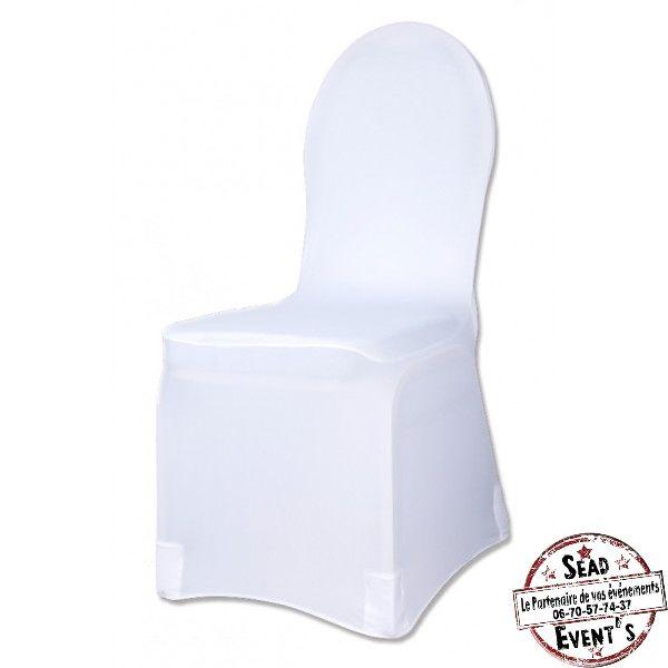 PACK 1 Housse de chaise lycra blanche + 1 Noeud Jute