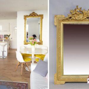 miroir doré ancien en bois 60x80 location décoration landes mont-de-marsan chic bohème mariage réception menu