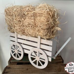 petite charrette bois blanc cassé décoration table location landes mont de marsan aquitaine foin