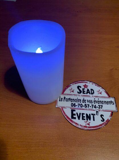 bougie led bleu pile lumineuse décorations locations mariages anniversaires chic landes mont de marsan