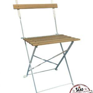 chaise pliante lattes bois acier blanche Assise et dossier à lattes BOIS rivetées assise location landes réception événements aquitaine