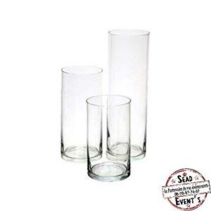 vase cylindre 20cm verre transparent décoration table centre de table landes location nappe aquitaine réceptions mariages anniversaire