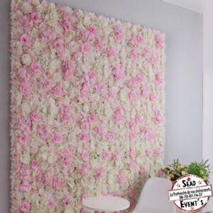 mur floral rose blanche et rose fleurs landes location mont de marsan bohème chic décors photobooth instax décoration mariage anniversaire photo