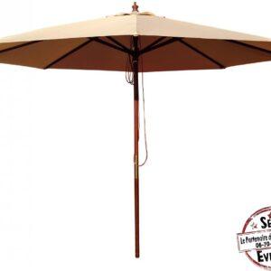 parasol en bois exotique 3m de diamètre extérieur été terrasse pratique détente chill printemps location landes aquitaine mariage anniversaire événement event baptême