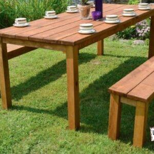 table fermière location bois clair foncé banc mobilier extérieur intérieur landes anniversaire mariage événement baptême aquitaine